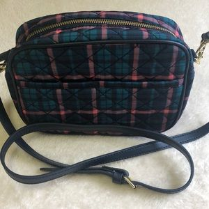 Talbots Green/Pink/Navy Pld Quilted Crossbody NWOT